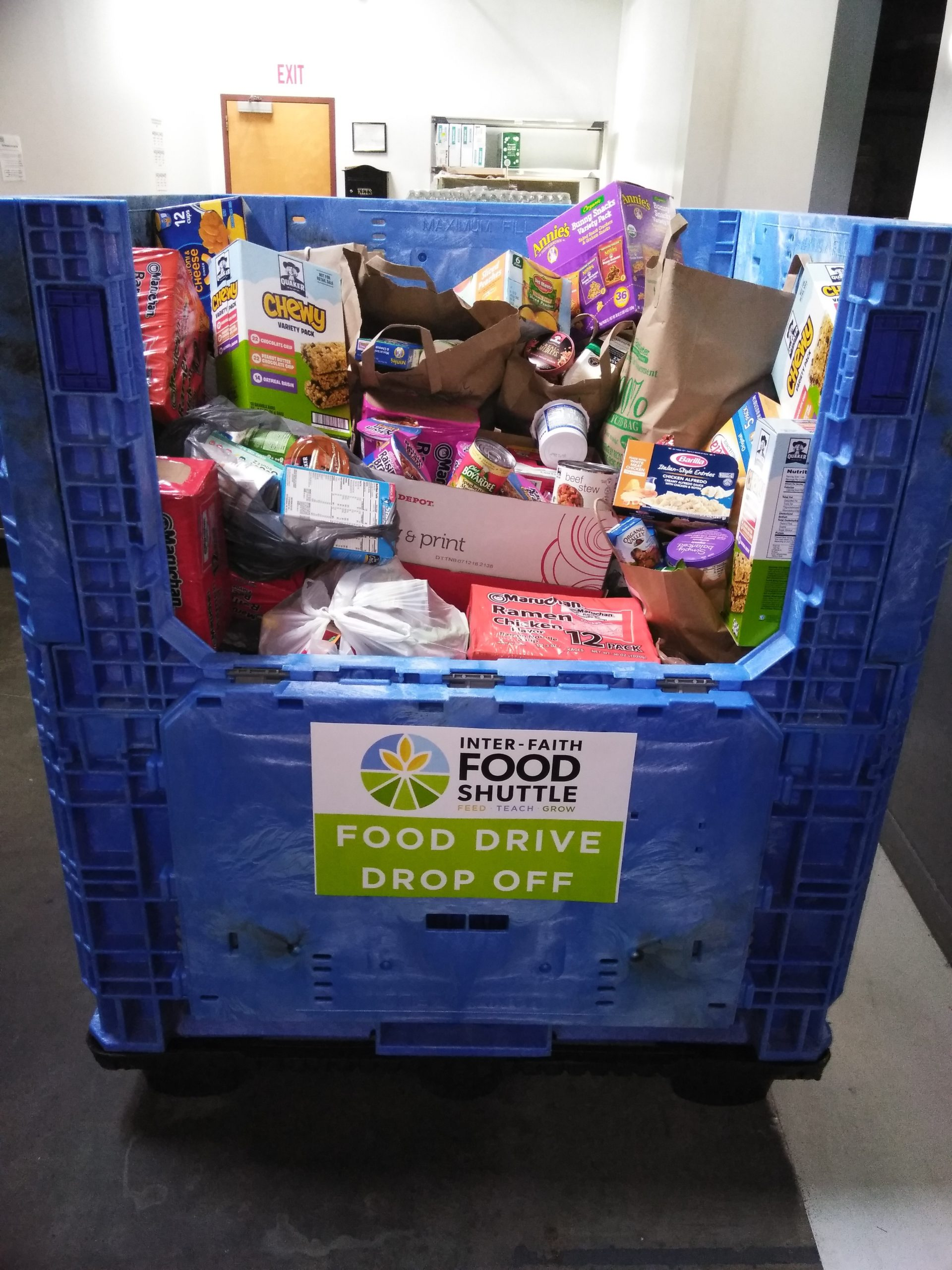 A snapshot of the food drive donation bin at the IFFS. Photo courtesy of Laura Clay